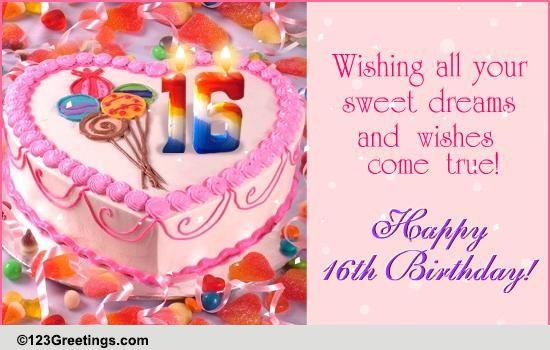 Sweet 16th Birthday Free Milestones Ecards Greeting