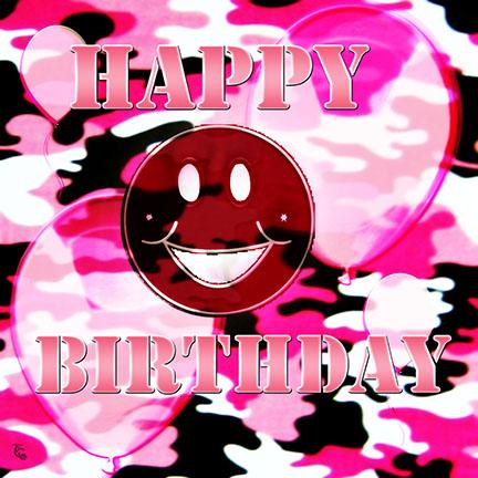 Pink Camo Birthday Smile Free Smile ECards Greeting