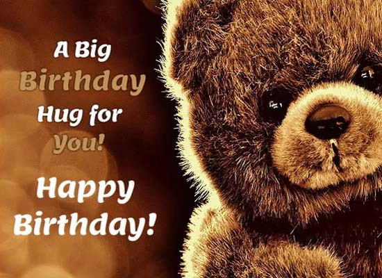 Cute Big Hug On This Birthday Free Birthday Wishes ECards 123 Greetings