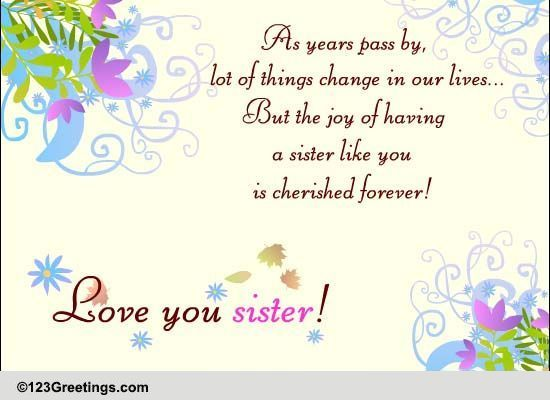 Love You Sister Free Sisters Day ECards Greeting Cards 123 Greetings