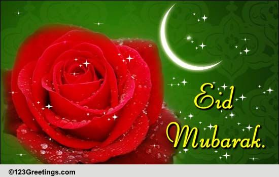 Say Eid Mubarak With Flowers Free Floral Wishes ECards Greeting Cards 123 Greetings