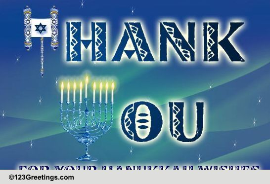 Thank You For Hanukkah Wishes Free Thank You ECards Greeting Cards 123 Greetings