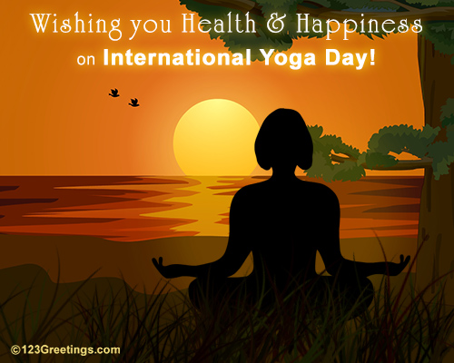Health Amp Happiness On Intl Yoga Day Free International Yoga Day ECards 123 Greetings