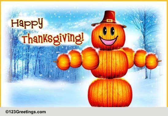 Pumpkin Man Thanksgiving Wish Free Happy Thanksgiving ECards 123 Greetings