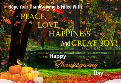 Filled With Peace Love And Joy Free Happy Thanksgiving ECards 123 Greetings