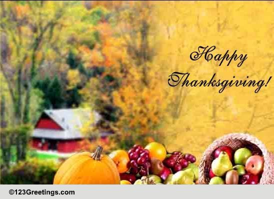 Arrival Of Thanksgiving Free Happy Thanksgiving ECards 123 Greetings