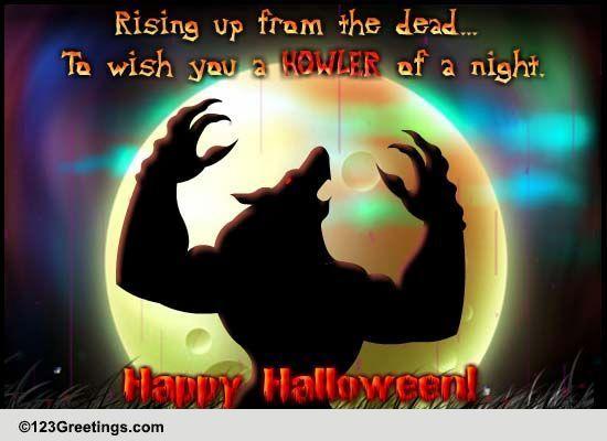 Werewolf Halloween Howler Free Happy Halloween ECards Greeting Cards 123 Greetings