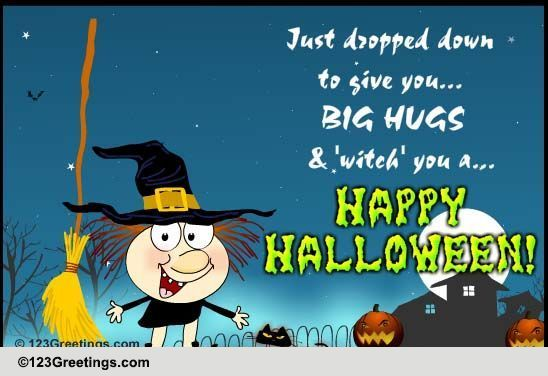 A Halloween Witch Amp Hugs Free Witches ECards Greeting Cards 123 Greetings