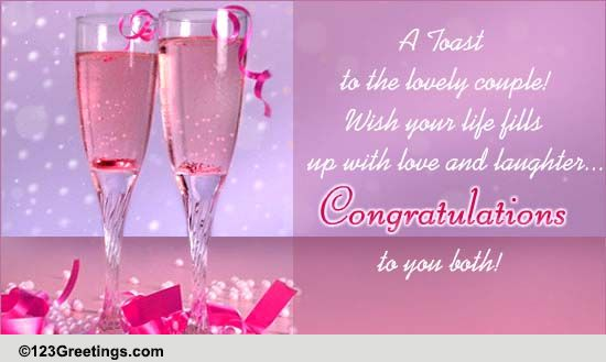 A Toast To The Couple Free Congratulations ECards