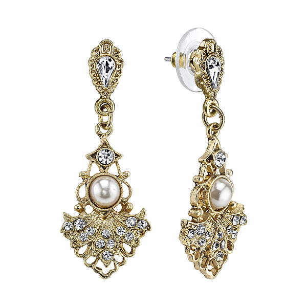 Downton Abbey® Boxed Gold-Tone Crystal Simulated Pearl Fan Drop Earrings