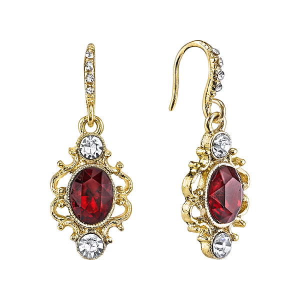 Downton Abbey® Gold-Tone Red Crystal Oval Drop Earrings