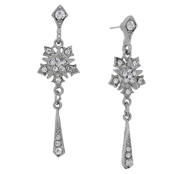 Downton Abbey® Silver-Tone Crystal Starburst Tassel Drop Earrings