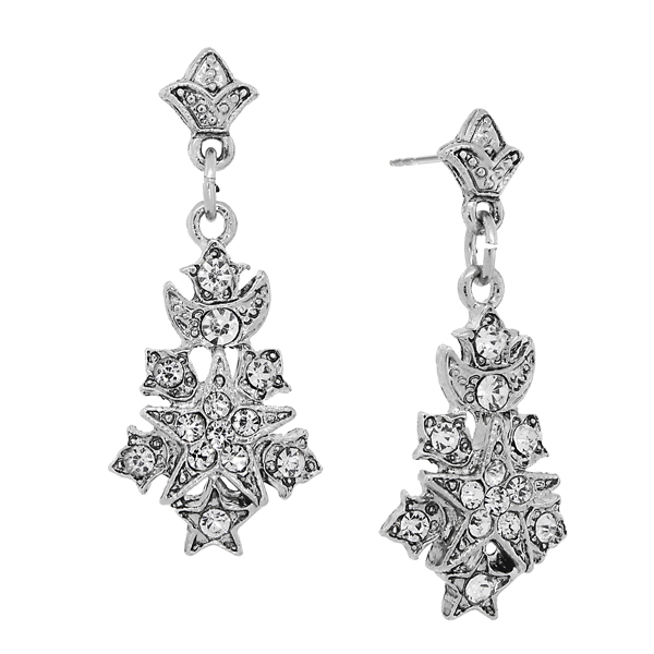 Downton Abbey® Silver-Tone Crystal Pave Starburst Drop Earrings