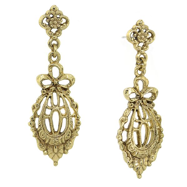 Downton Abbey® Gold-Tone Bow Drop Filigree Earrings