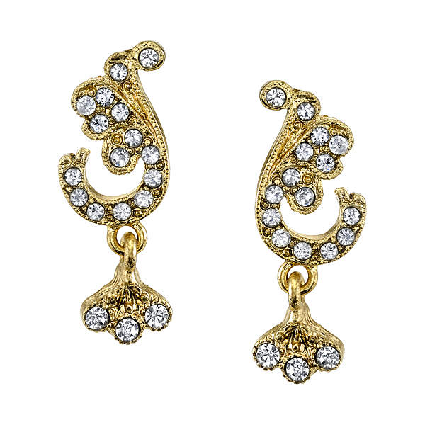 Downton Abbey® Gold-Tone Crystal Pave Leaf Earrings