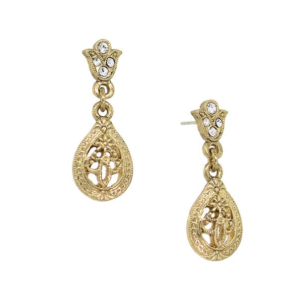 Downton Abbey® Gold-Tone Crystal Petite Filigree Teardrop Earrings