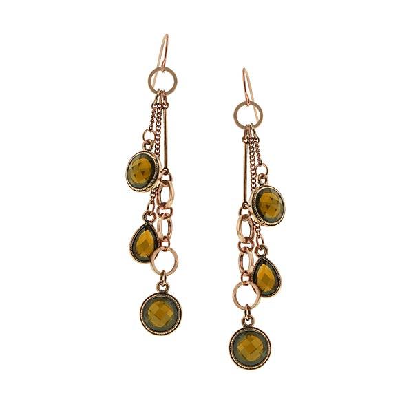 Copper-Tone Smoke Topaz Crystal Tassel Drop Earrings