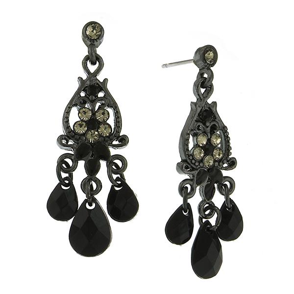 Jet-Tone Grey Crystal Chandelier Earrings
