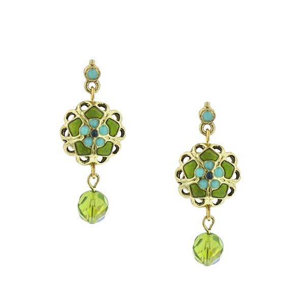 Tapestry Gold-Tone Green and Blue Flower Drop Earrings