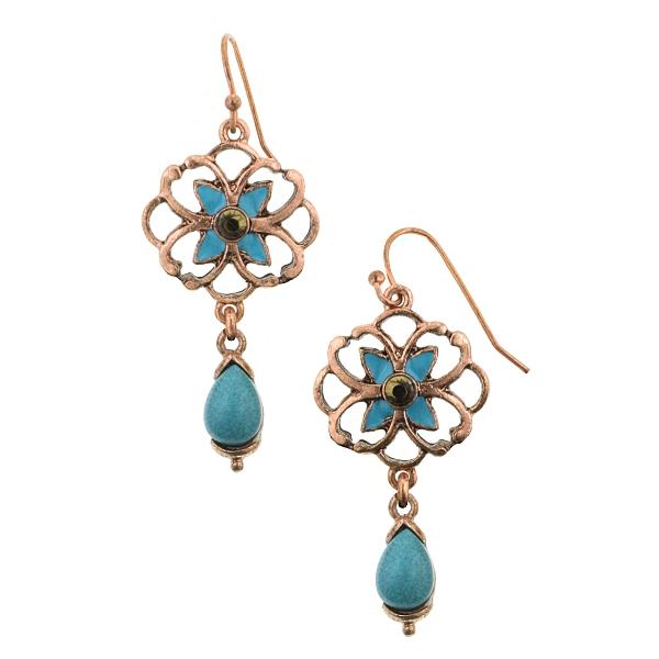 Azteca Filigree Copper Turquoise Drop Earrings