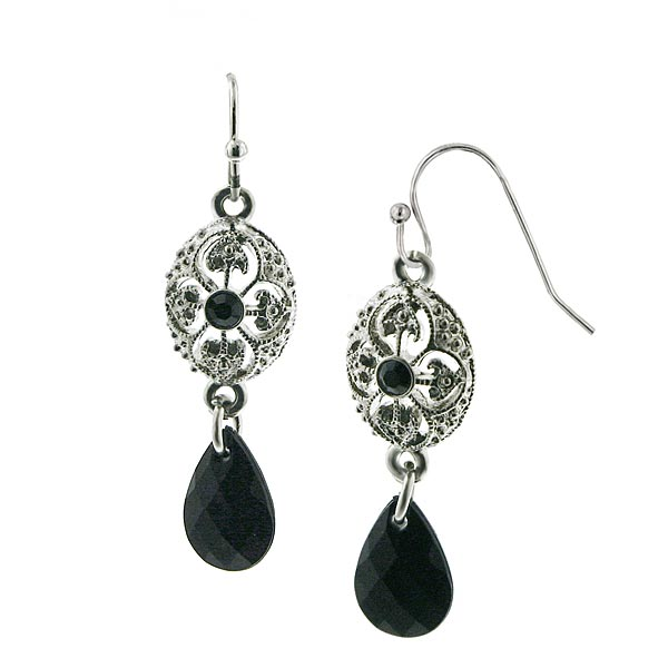 Silver-Tone Black Briolette Bead Drop Earrings