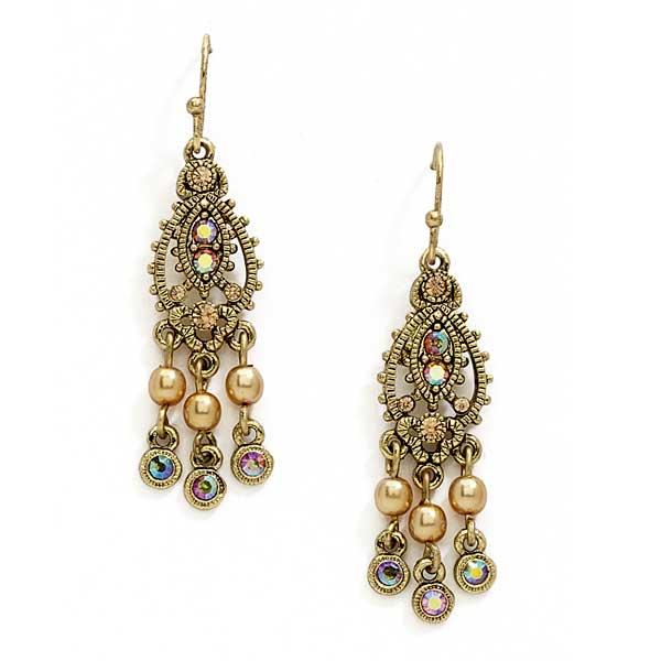 Brass Simulated Pearl Mini Chandelier Earrings