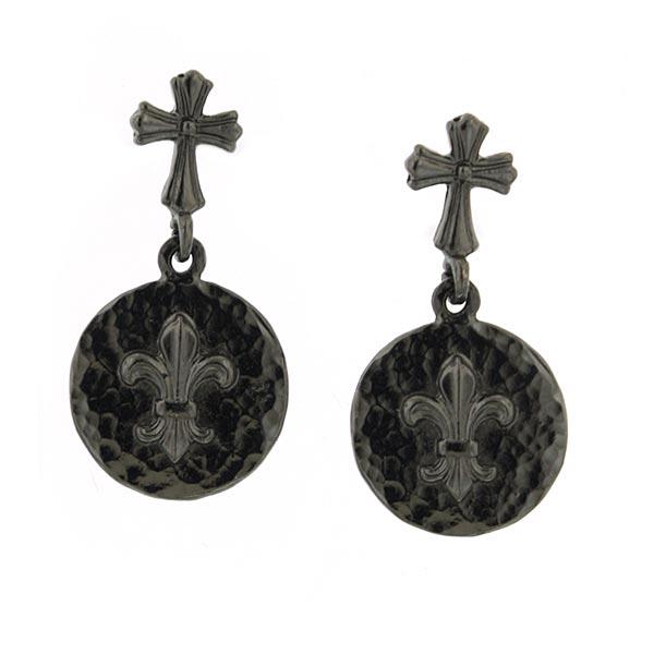 Black Cross Fleur De Lis Drop Earrings