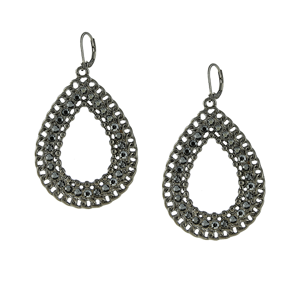 2028 Filigree Sparkle Black-Tone Grey Crystal Pear-Shaped Hoop Earrings