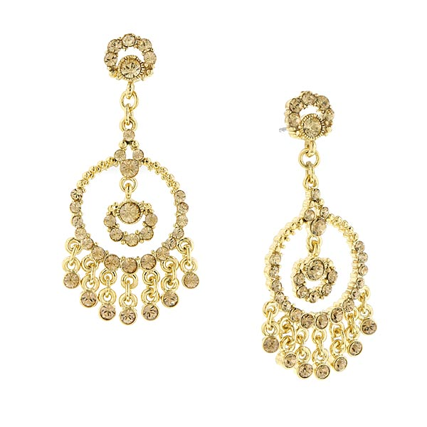 2028 Gold-Tone Brown Crystal Chandelier Earrings