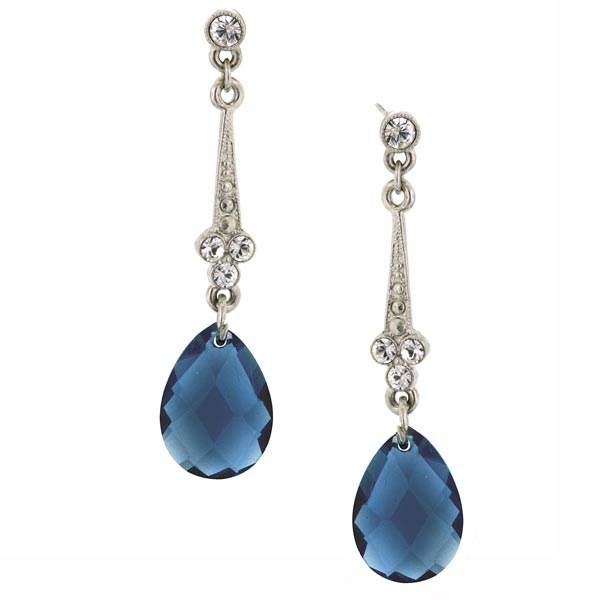 Royalty Drop Blue Crystal Earrings