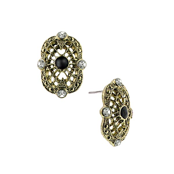 Vintage Metropolis Black Eye Button Earrings