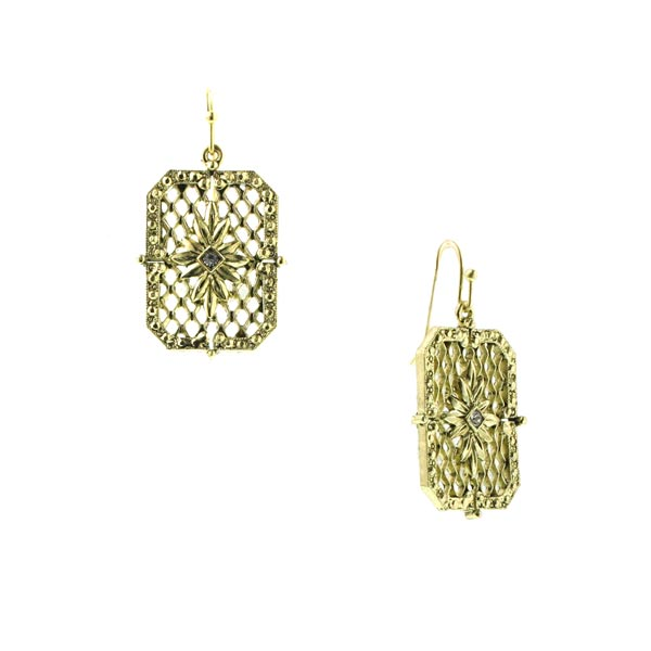 Golden Metropolis Honeycomb Filigree Earrings