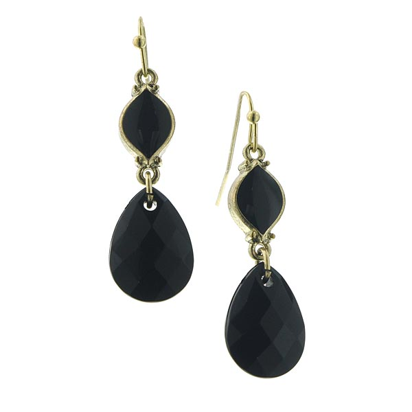 Metropolis Black Teardrop Earrings