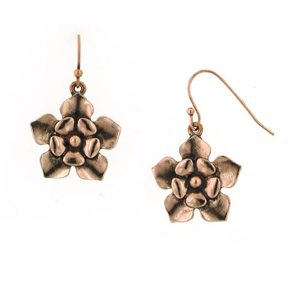Olivia Vintage Copper Flower Drop Earrings