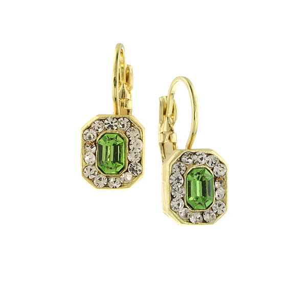 2028 Luxe Pastels Gold-Tone Green and Crystal Octagon Drop Earrings