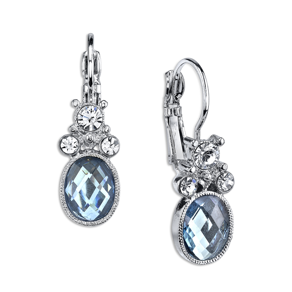 2028 Luxe Pastels Silver-Tone Light Blue and Crystal Drop Earrings