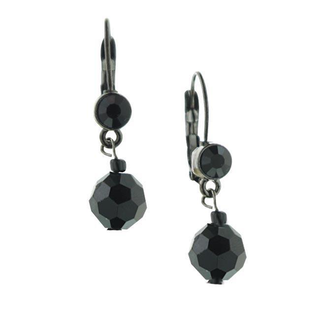 Jet-Tone Black Beaded Small Drop Earrings
