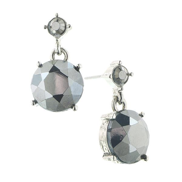 Silver-Tone Hematite Round Drop Earrings