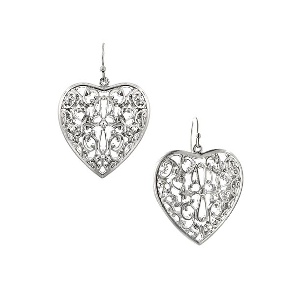 Doile Rounded Heart Filigree Earrings