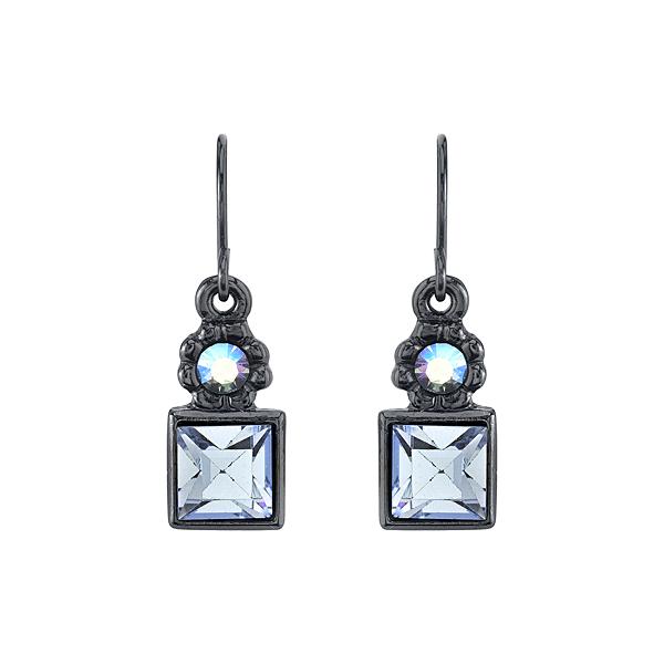 Black-Tone Blue Square Drop Earrings