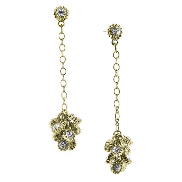 De Luca Brass Sparkle Cluster Linear Drop Earrings
