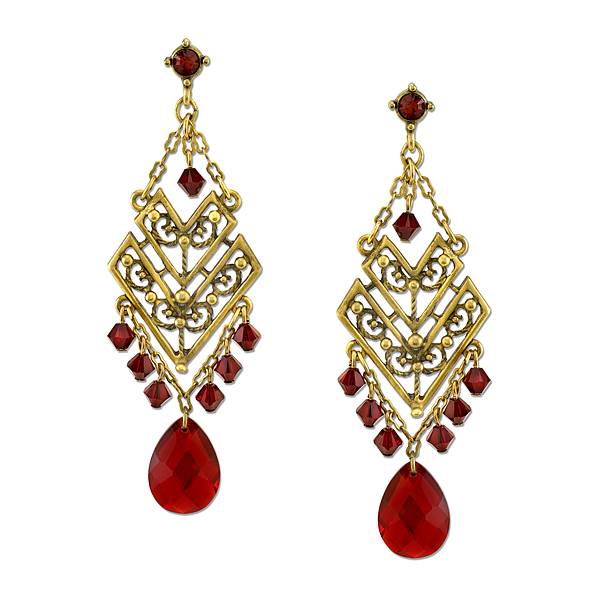 T.R.U. Red Glass Gem Chandelier Chevron Earrings