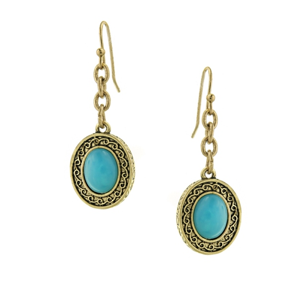 Signature Brass-Tone Imitation Turquoise Oval Drop Earrings