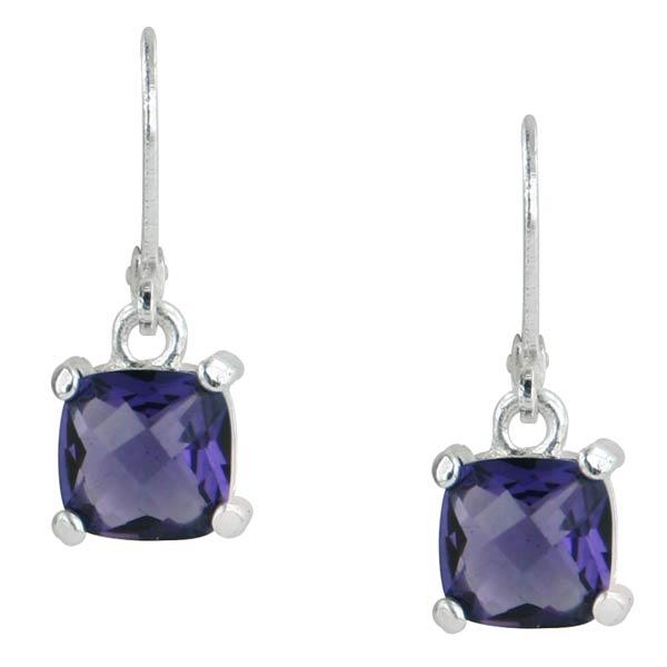 Silver-Tone Purple Square Drop Earrings