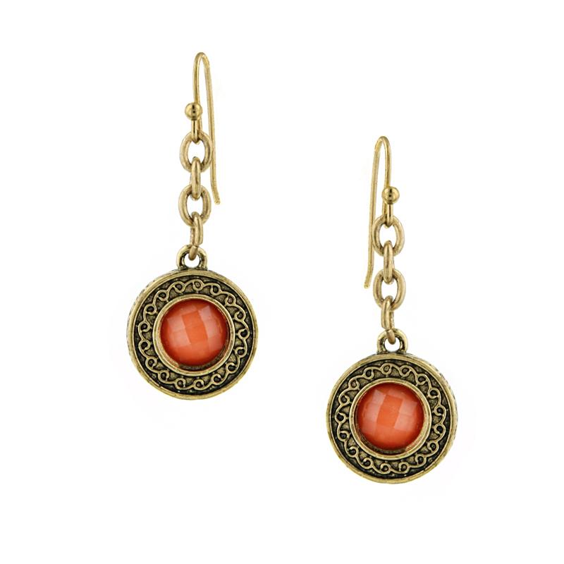 Signature Brass-Tone Orange Drop Earrings