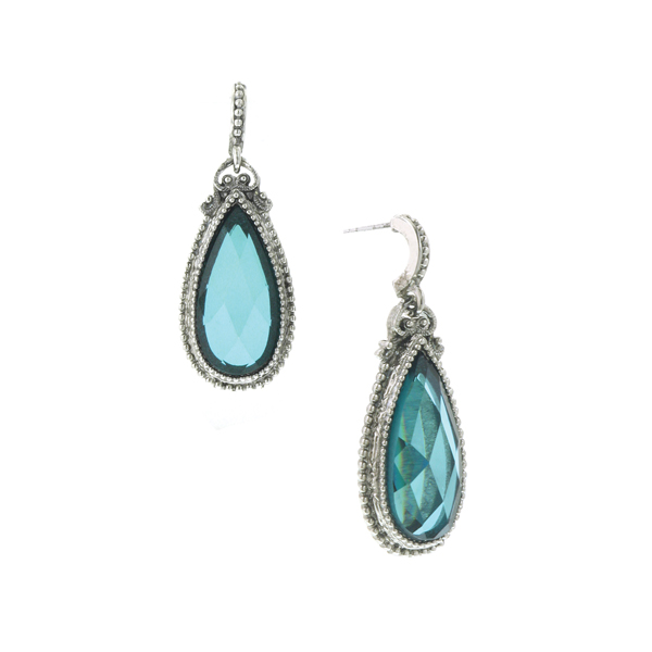 Silver-Tone Blue Pear-Shaped Drop Earrings