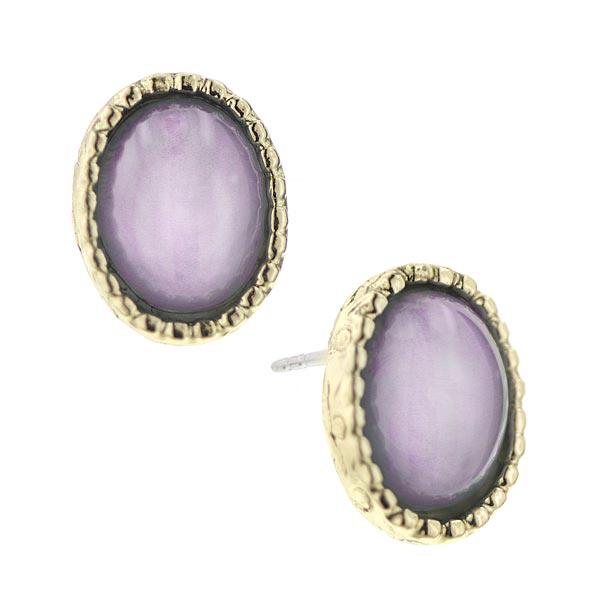 Button Top Purple Cabochon Earrings