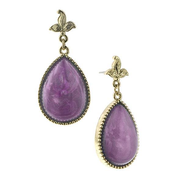 Leafily Amethyst Purple Teardrop Earrings