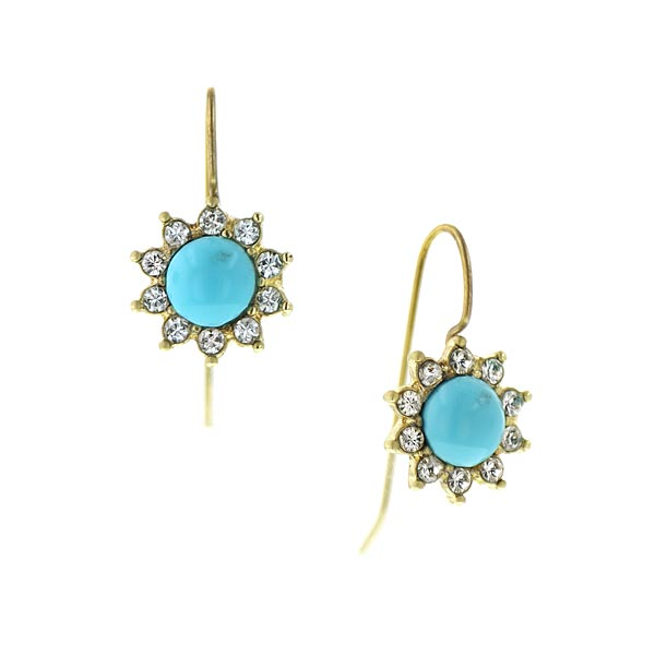 Gold-Tone Imitation Turquoise Crystal Drop Earrings