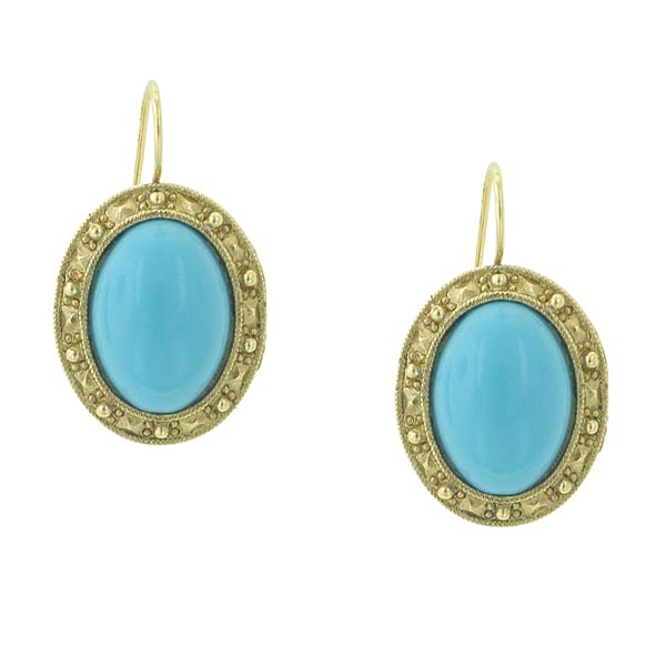 Gold-Tone Imitation Turquoise Oval Drop Earrings